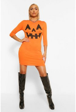Pumpkin Print Halloween Bodycon Dress, Оранжевый