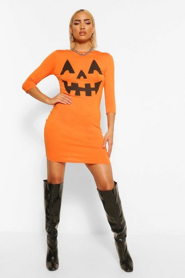 Womens Orange Pumpkin Print Halloween Bodycon Dress