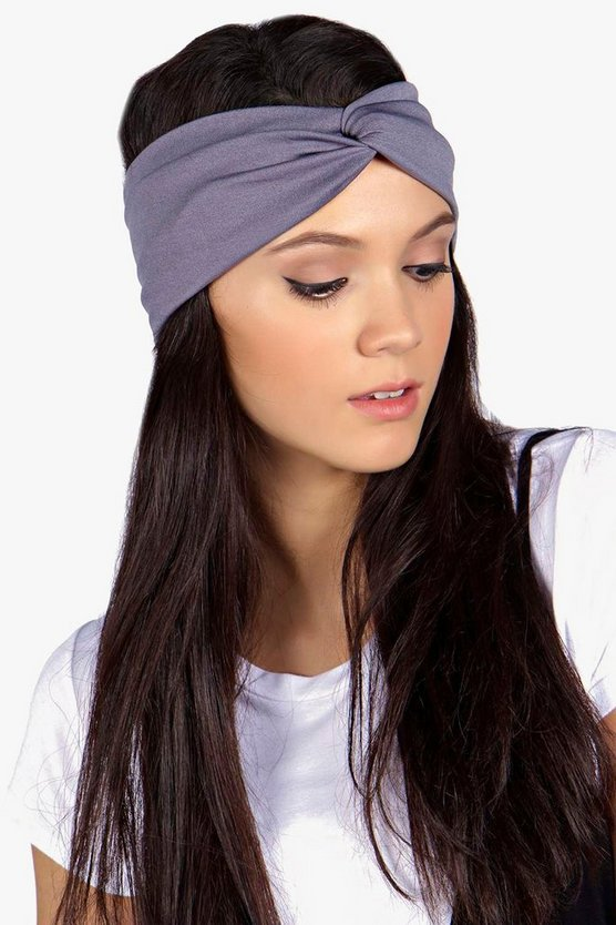 Womens Grey Jersey Twist Knot Headband