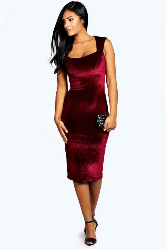 Leanne Velvet Sweetheart Midi Dress