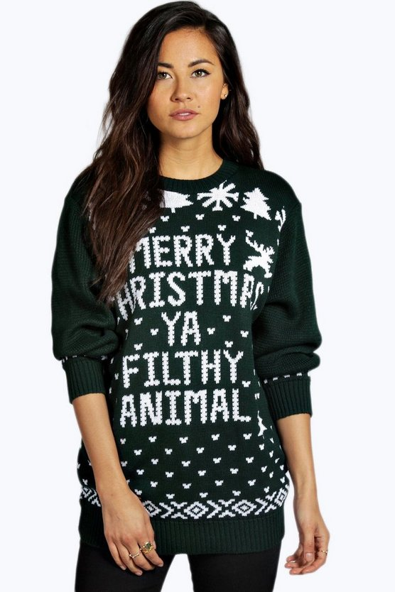 Womens Bottle Eva Merry Christmas Ya Filthy Animal Jumper