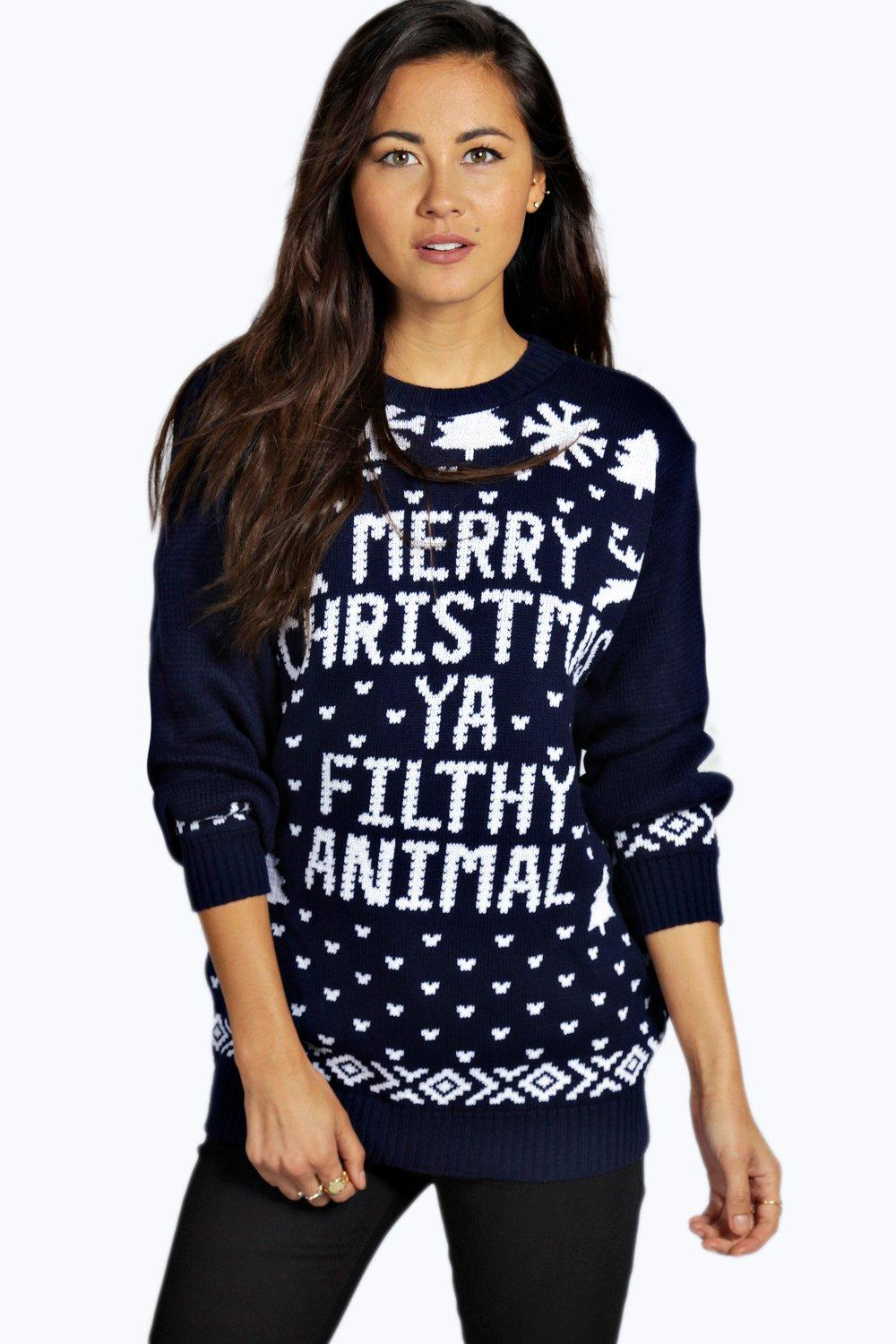 eva-merry-christmas-ya-filthy-animal-jumper by boohoo