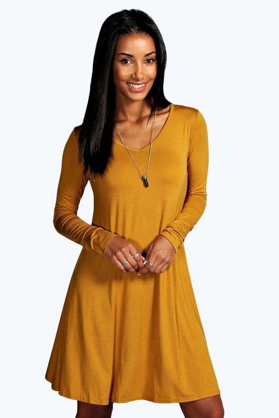V Neck Long Sleeve Swing Dress