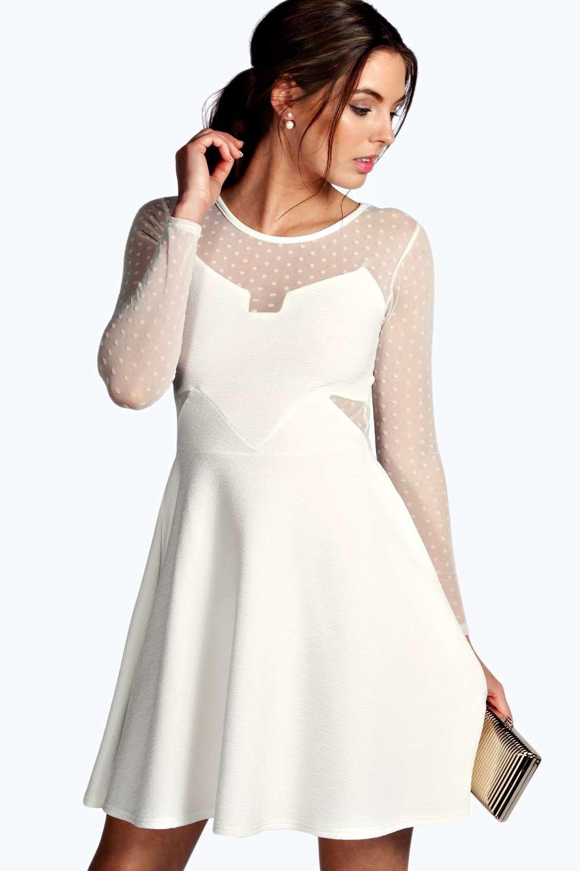 af069e4e3549 Sophia Dot Mesh Skater Dress. Hover to zoom