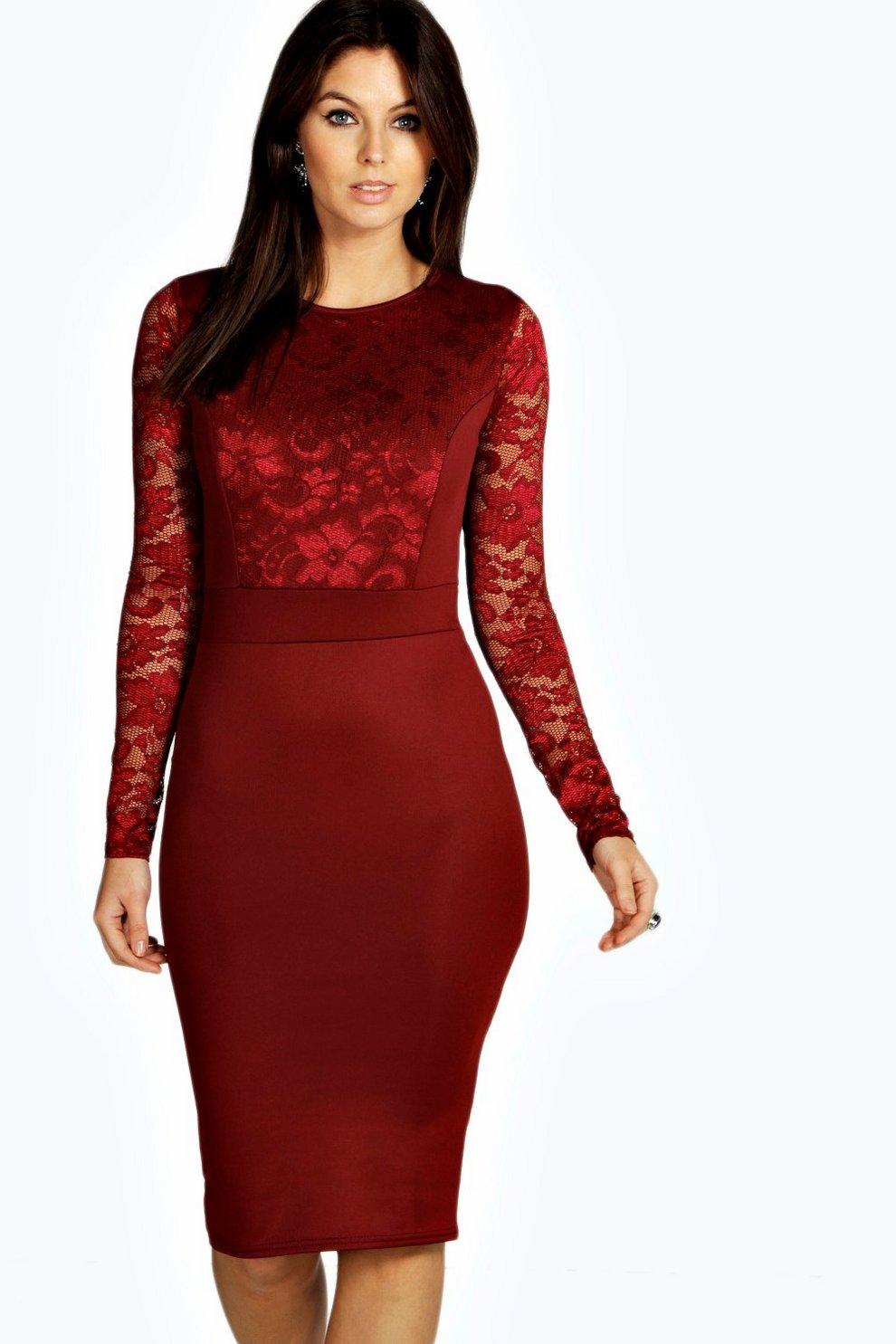 d2825352811f5 Lace Long Sleeve Bodycon Midi Dress | Boohoo