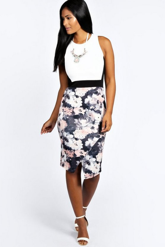 Womens Multi Floral Contrast Asymmetric Midi Bodycon Dress