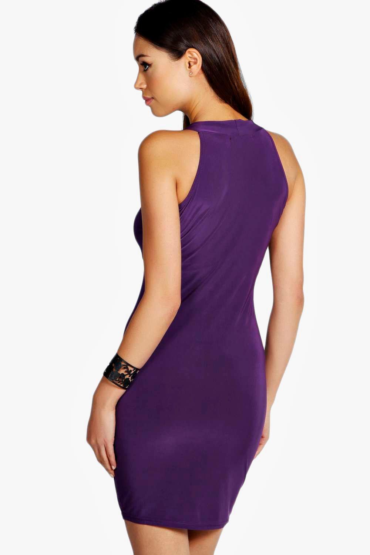 NEW Boohoo Womens High Neck Slinky Mini Dress in Polyester | eBay