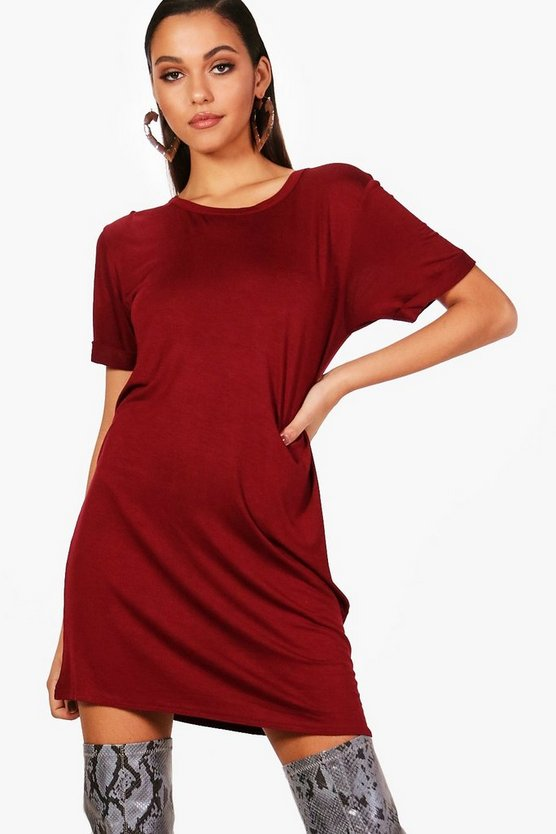 Berry Turn Back Sleeve TShirt Dress
