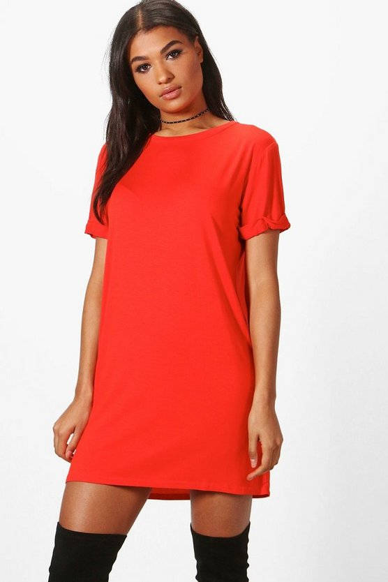 Turn Back Sleeve TShirt Dress