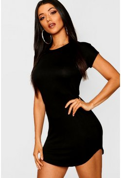 Womens Black Basic Curved Hem T-Shirt Dress