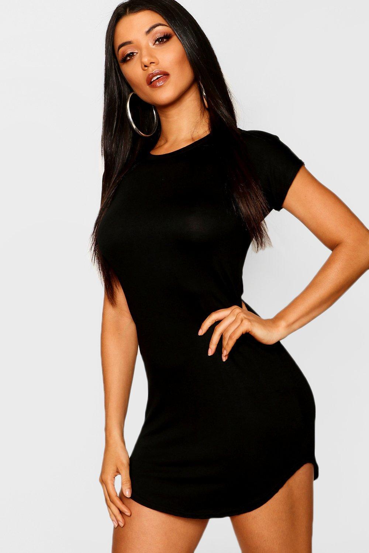 fc532b017 Womens Black Basic Curved Hem T-Shirt Dress. Hover to zoom