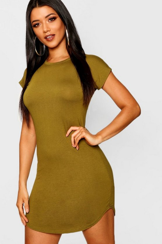 Olive Basic Curved Hem T-Shirt Dress