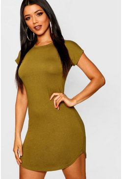 Womens Olive Basic Curved Hem T-Shirt Dress