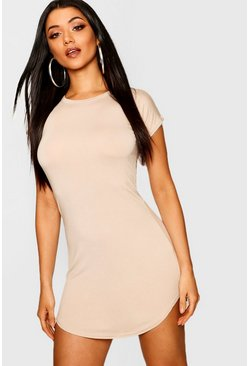 Sand Basic Curved Hem T-Shirt Dress