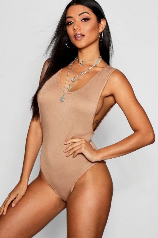Womens Camel Basic Low Side Scoop Bodysuit