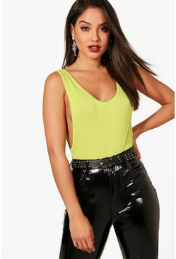Lime Basic Low Side Scoop Bodysuit