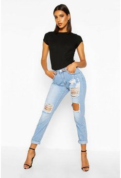 Womens Blue Mid Rise Relaxed Fit Open Knee Boyfriend Jeans