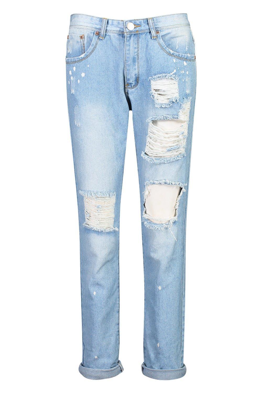 rodilla en holgados Jeans estilo abertura con Azul boyfriend nOqxHPvw1