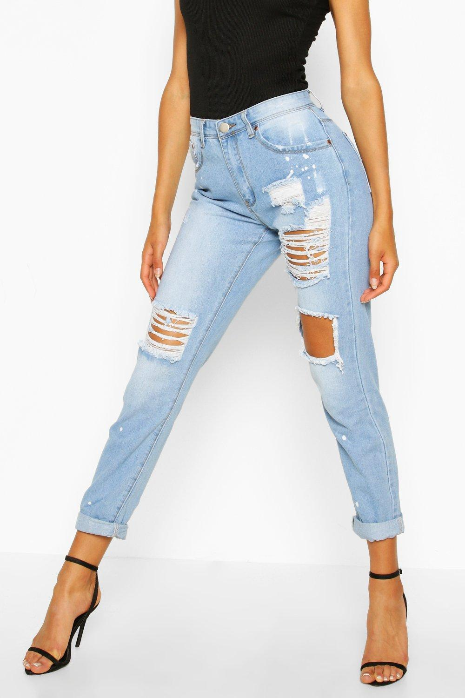 Jeans con abertura estilo en rodilla boyfriend Azul holgados qCrRwxqP