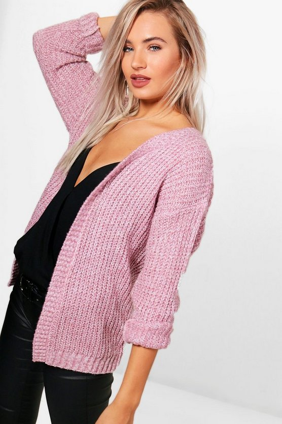 Edge To Edge Grungy Marl Knit Cardigan