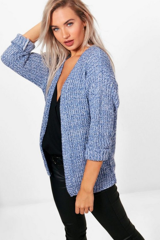 Vintage blue Edge To Edge Grungy Marl Knit Cardigan