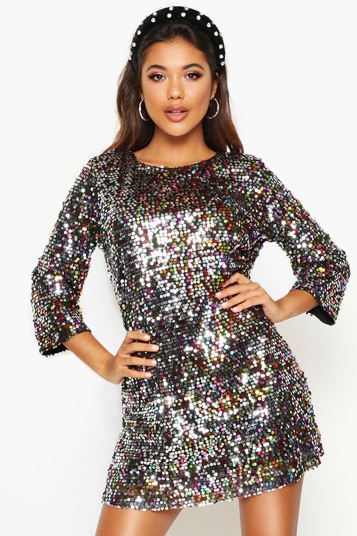70s Prom, Formal, Evening, Party Dresses Woven Sequin Shift Dress  AT vintagedancer.com