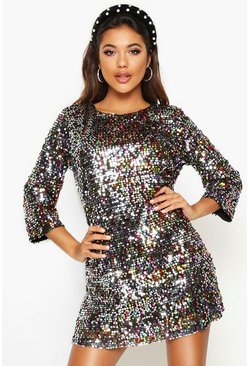 Womens Multi Woven Sequin Shift Dress