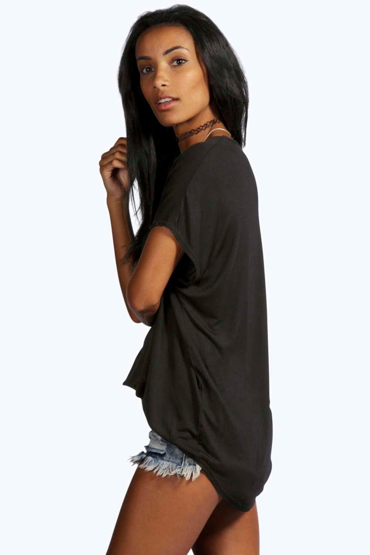 Camiseta v punto Gris grande con extra en de marengo cuello básica rF8Iqwr
