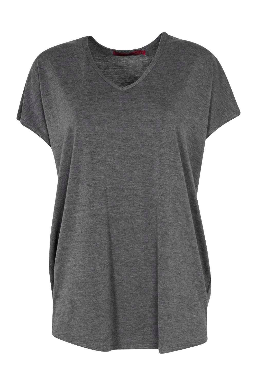 grande básica cuello extra Gris con de v marengo punto Camiseta en 7qCn6g6