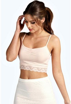 Womens Nude Lace Hem Crop Bralet