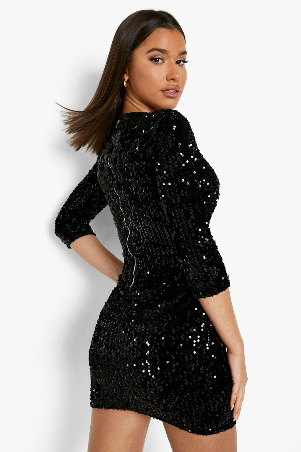 Plus-size women's sequin dresses for plus size women, including: Silver Sequin Bell Sleeve Dress White - Clearance, Geo-Sequin Front Pencil Skirt Black Combo - Clearance, Sequin Dresses for Plus Size Women.