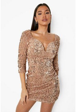 Womens Nude Sequin Bodycon Dress