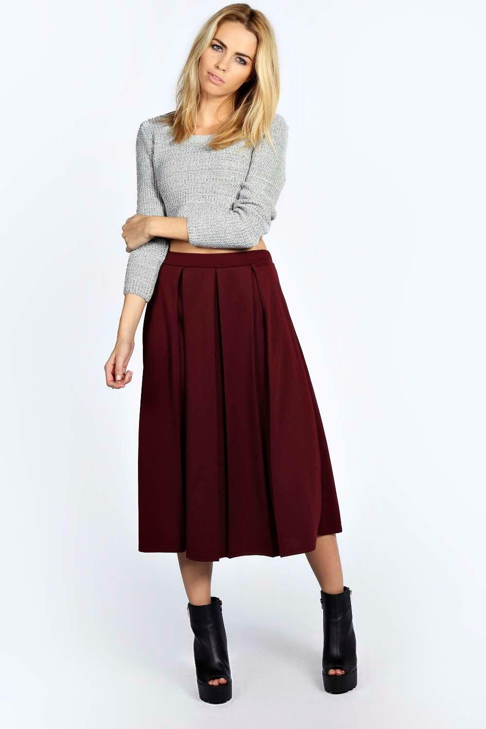 Charlotte Russe Scuba Midi Skater Skirt. Online only! Scuba knit sculpts this adorable midi-length skirt! Box pleats flare from a flat waistband into a full, skater silhouette, while an .