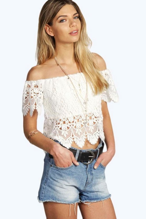 Womens White Felicity Crochet Off The Shoulder Top