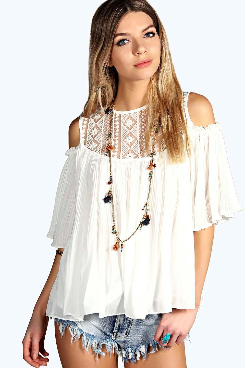 71bd20a66 ... Lace Insert Cold Shoulder Pleated Smock Top. Hover to zoom