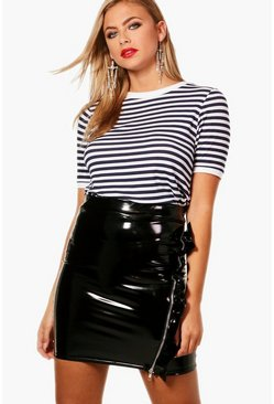 Womens Navy Fine Stripe Rib Cuff & Neck Top