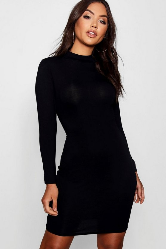 Womens Black High Neck Bodycon Dress