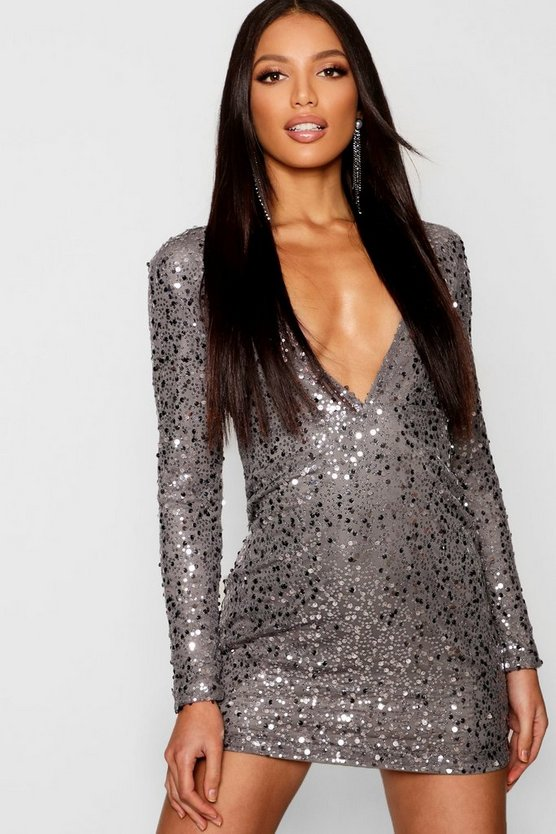 Womens Pewter Rose Deep Plunge Sequin Bodycon Dress