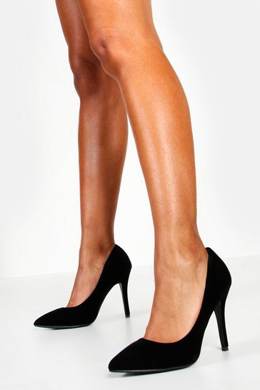 Black Pointed Court Shoe Heels