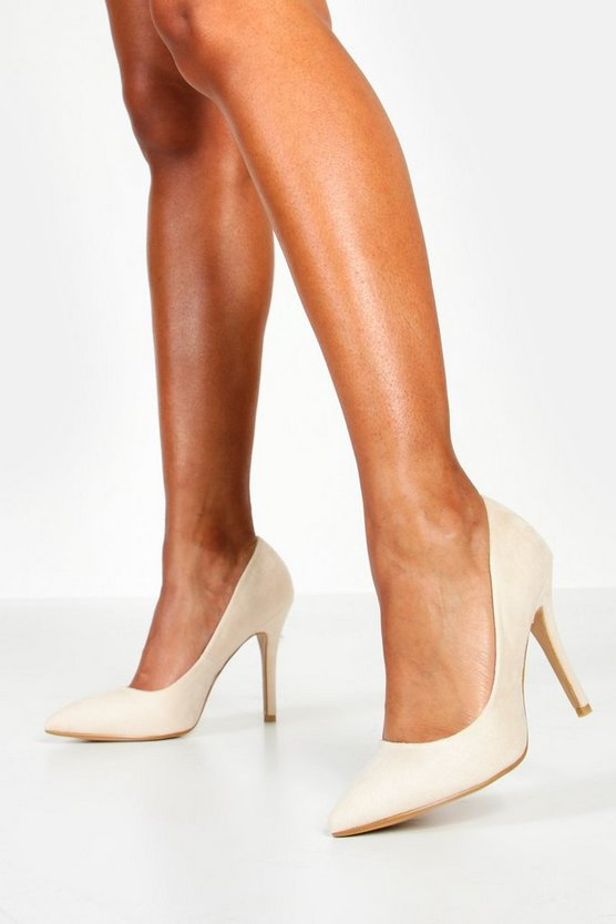 Womens Nude Pointed Court Shoes