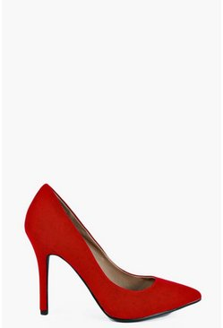 Red Pointed Court Shoe Heels