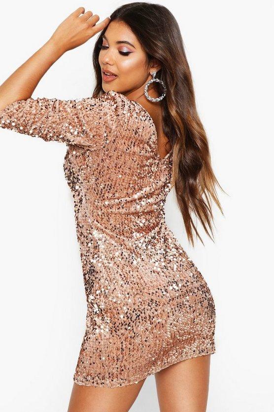 Sequin Long Sleeve Bodycon Dress