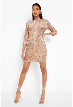 Womens Nude Sequin Long Sleeve Bodycon Dress