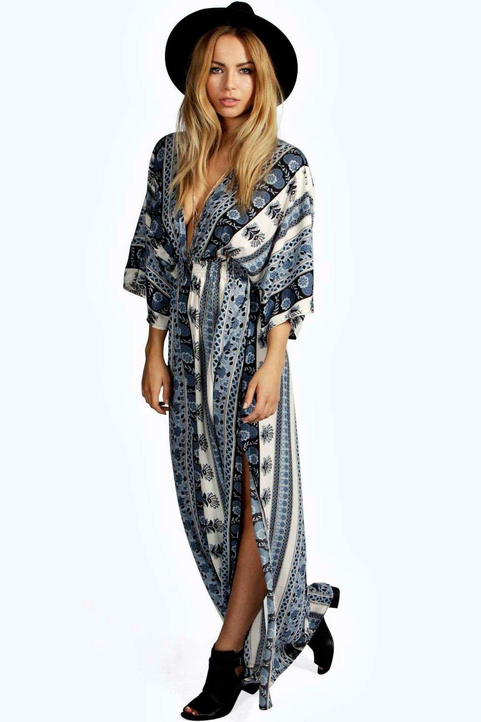 7a4398e07 Mia Scarf Print Kimono Sleeve Maxi Dress | Boohoo