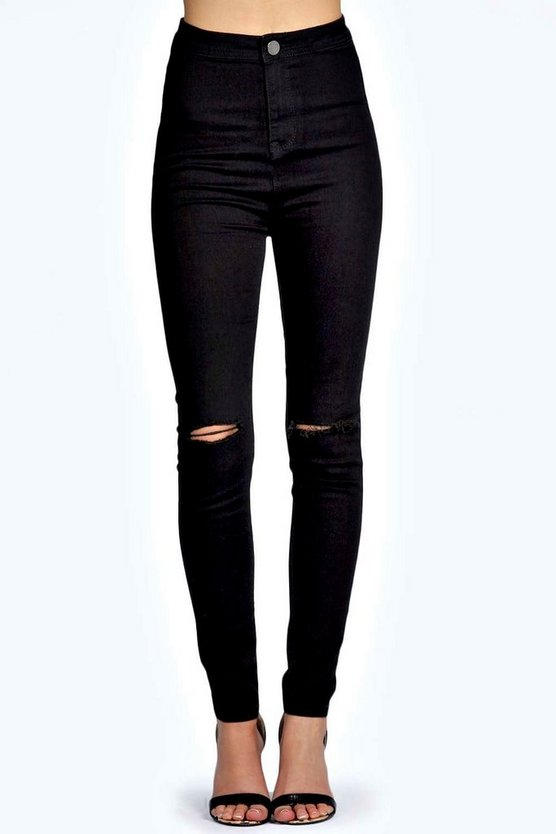 Skinny High Rise Tube Slashed Jeans