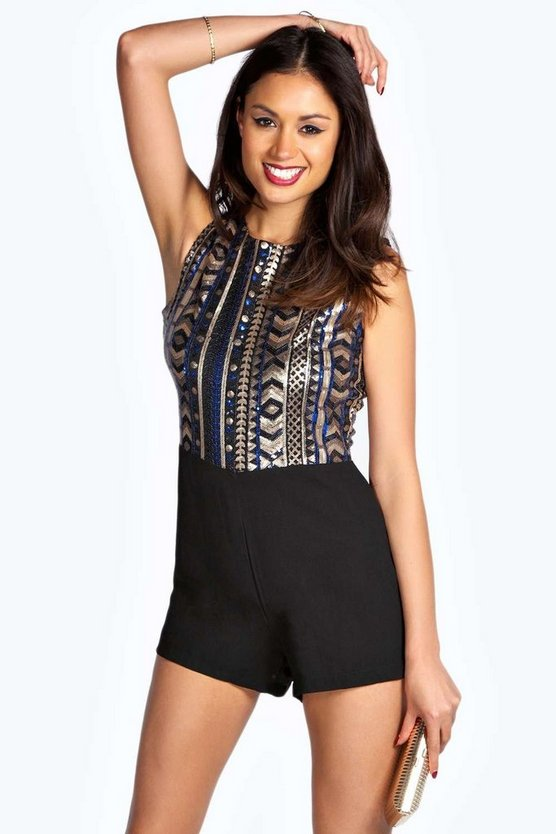 Demi Sequin Printed Top Playsuit