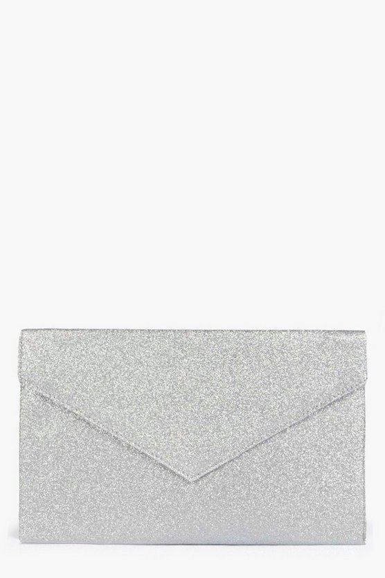 Womens Silver Glitter Envelope Clutch