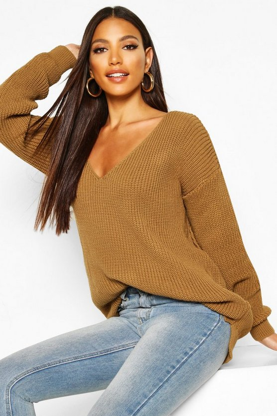 Womens Camel Oversized V Neck Jumper