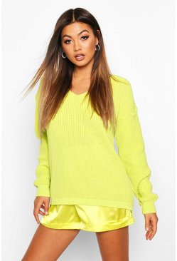 Lime Oversized V Neck Jumper