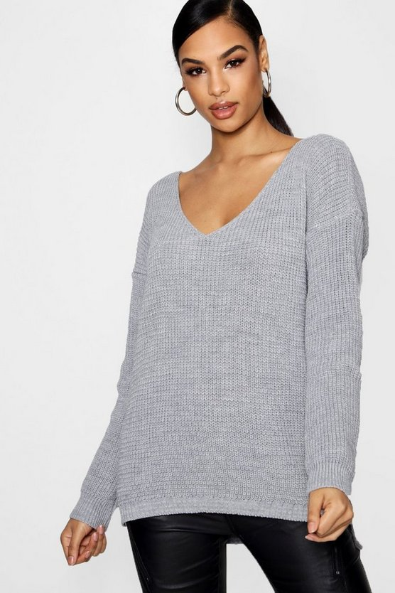 Womens Silver Oversized V Neck Sweater
